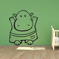 Hippo Kids Nursery Wall Sticker. http://walliv.com/hippo-kids-nursery-wall-sticker-decal