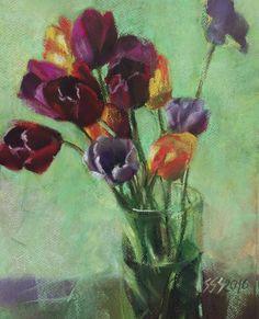 Tulips pastel by Silja Salmistu