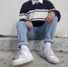 Mode Outfits, Retro Outfits, Vintage Outfits, Outfits For School, Vintage Clothing Styles, Hipster Clothing, Hipster Outfits, Boy Clothing, Korean Outfits