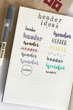 The ultimate collection of bullet journal header and title ideas for inspiration! Wether you're changing up your entire theme or just one spread, these awesome bullet journal header and title ideas will help you decorate with ease! Bullet Journal Inspo, Bullet Journal Hand Lettering, Bullet Journal Headers, Bullet Journal Banner, Bullet Journal Notebook, Bullet Journal Aesthetic, Bullet Journal Ideas Pages, Bullet Journal Layout, Bullet Journal Ideas Templates