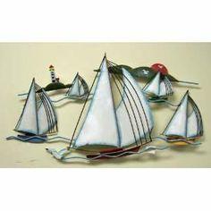 Nautical Wall Art | Metal Sailboat Nautical Wall Art Hanging Lighthouse Birds