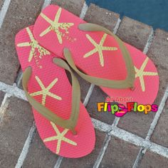 Sea Life Coral and Gold Starfish Flip Flops