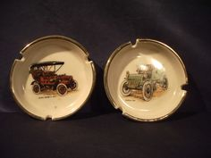 VTG Hyalyn Ash Trays Pair Antique Automobiles Buick Cadillac White Gold accents
