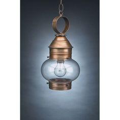 Northeast Lantern Onion 1 Light Outdoor Hanging Lantern Finish: Dark Antique Brass, Shade Type: Clear