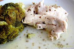 Poulet mariné au citron, huile d'olive et basilic, cuisson vapeur