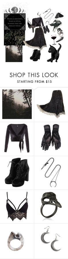 """Velvet Witch"" by tarnyrien ❤ liked on Polyvore featuring Raven Denim, Leah Flores, Lisa Marie Fernandez, Topshop, Maria Black, Club L and Window Dressing the Soul"