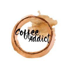 Coffee Stain Watercolor Logo Design, Watercolour Logo, Coffee Logo, Brown Watercolor, Coffee Lover, Blog Header, Tea Logo, Watercolor Tea