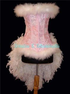 Versatile custom made pink burlesque costume. Wear with wings for fairy or angel costume as well. The bodice is made with a heavy weight pink Cute Couple Halloween Costumes, Halloween 2015, Halloween Ideas, Costume Shop, Punk Costume, Burlesque Costumes, Carnival Costumes, Denim And Diamonds, Feather Dress
