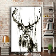 Balck and White Elephant Deer Animal Minimalist Poster Print Canvas Painting Wall Art For Living Room Nordic Scandinavian Decor Cervo Tattoo, Art Pour Salon, Deer Pictures, Canvas Art, Canvas Prints, Canvas Frame, Deer Art, Art Moderne, Art Mural
