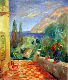 Jean-Paul Lemieux, Terrace à Monaco (sic) (18 x 15) circa 1954-1955, Huile sur toile montée sur panneau par l'artiste