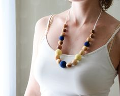 Knotted Silk and Wood Nursing Necklace