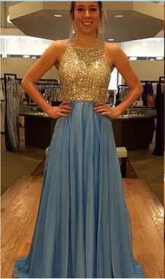 New Design Gold Beaded Bodice Blue Chiffon Skirt long Prom Dresses Open Back Evening Dress Prom Gowns