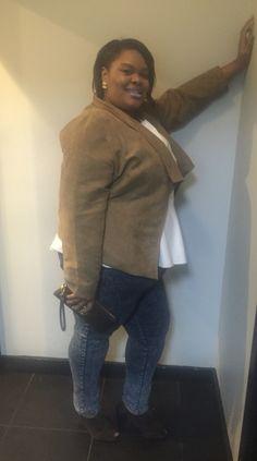 BBW look . Acid wash jeans,white leather peplum top, tan jacket , with dark brown accessories