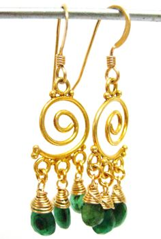 The birth stones of Mai are emeralds. Small emerald drops, gold filled and gold vermeil