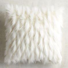 Ivory Faux Fur Eyelash Pillow