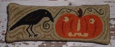 Primitive Needle Punch PATTERN Crow and Pumpkin by thetalkingcrow