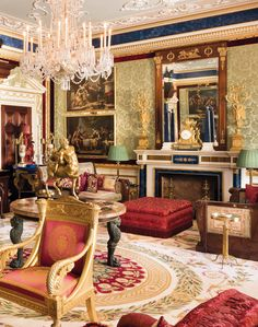 Inside The Beautiful World of Robert Zellinger de Balkany : The interior of Château Balsan in Eze on the Côte d'Azur - Decorated by Jacques Garcia - the most Prestigeous of French Interior Decorator - A refined, grand and luxurious property with superb furniture, marbles & bronzes of the XVIIth, XVIIIth & XIXth century - De Balkany's collection of Paintings, Objets d'Art, Exquisite Furniture is definitely a prestigeous one... check the Blue Marble Obelisks on the Mantle Piece...