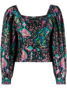 Multicolour printed silk blouse from sandro paris featuring a square neck, long sleeves and a cropped length. Sandro, Black Blouse, Floral Prints, Women Wear, Printed Silk, Long Sleeve, Casual, Sleeves, Fashion Design
