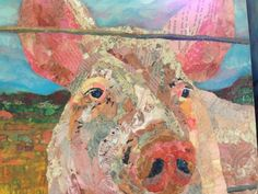 Paper paintings Collage Art-Pig