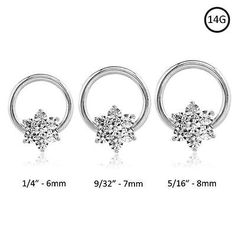 Gold Clear cz 15 gems Septum Clicker Nose Ring Hoop Gold plated Jewelry piercing 6x10 wearable length 1//4 16g