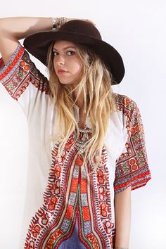 Vintage 70s Ethnic India Hippie Boho Festival Dashiki  Maxi Dress