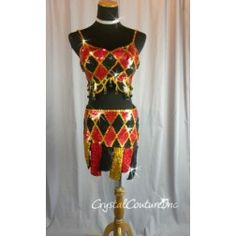 Encore Costume Couture | Red & Black 2 Piece Hand Beaded & Sequined Costume! - Size AM - Jazz - Costumes