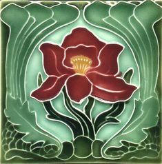 Historic Tiles - Moulded Art Nouveau Tiles - Red Flower