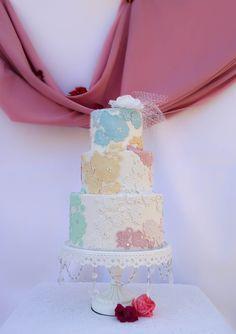 Pastel lace wedding cake by Sevacha cake