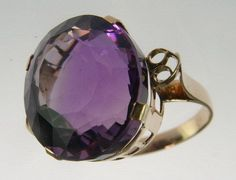 Antique-14K-Yellow-Gold-10-CT-Amethyst-Solitaire-Cocktail-Dinner-Estate-Ring