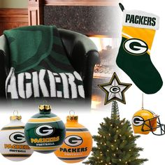 Green Bay Packers Christmas Ornaments, Stocking, Tree Topper, Blanket