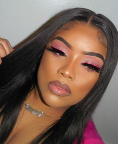 @radiantdoll 💕 Black Girl Makeup, Pink Makeup, Cute Makeup, Girls Makeup, Glam Makeup, Gorgeous Makeup, Pretty Makeup, Hair Makeup, Beauty Makeup