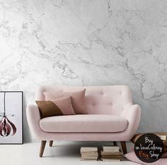 White Marble Removable Wallpaper | Stone Texture Wall Mural – Peel and Stick Wallpaper  | Self Adhesive Marble Pattern Mural #9