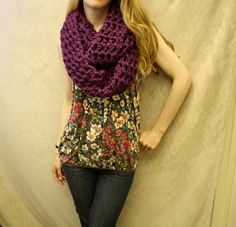 Check out my new Etsy shop, Sweet Bohemia  Long Double Crochet Infinity Scarf - Purple