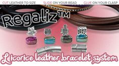 Introducing the Regaliz Licorice leather bracelet system- features leather bracelets, magnetic clasps and awesome beads