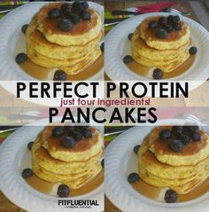 Four Ingredients Perfect Protein Pancakes | For 4 pancakes: 2 eggs, 1/3 c oats, 1 scoop protein powder, 2T milk, cinnamon and vanilla