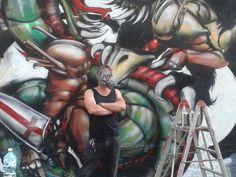 il mio pezzo al Milan street hi story-battaglia tra Sforza e Visconti. Colonne di San Lorenzo, Milano, maggio 2014 #streetart #milan #gattonero