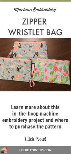 This video will show you a machine embroidered wristlet bag from a pattern purchased from Embroidery Garden. Sewing Hacks, Sewing Tips, Machine Embroidery Projects, Types Of Craft, Embroidery For Beginners, Zipper Bags, Fun Projects, Fabric Crafts, Fun Crafts