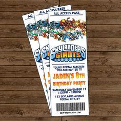 SKYLANDERS GIANTS Ticket Invitation - Skylanders Birthday Party - A Lil Frosting by Kristine. $12.00, via Etsy.