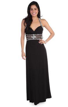 Deb Shops sequin beaded illusion waist long #prom #dress