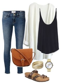 """Casual Night Out"" by anna-sf ❤ liked on Polyvore featuring Frame Denim, Zara, Steve Madden, Nixon and Birkenstock"