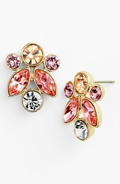 Sparkly pink, coral and clear crystal earrings for date night | Givenchy