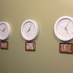 world clocks with names of relatives