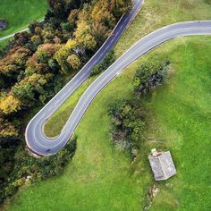NATURE DRIVE  #schweiz #chrisherzog #drone #aerial #curves #green #road