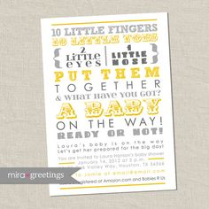 10 Little Fingers, 10 Little Toes, 2 Little Eyes, 1 Little Nose!  Gray and Yellow Baby Shower Invitation - 10 little fingers, gender reveal -