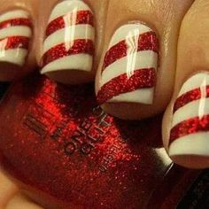 'Tis the season for fun candy cane nails. Find white and glitter red nail polish to get the look on ShopStyle.com