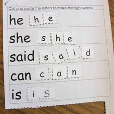Sight Word Practice Pages - Kindergarten Kindergarten