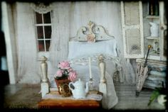 Love this bedroom, style called Shabby  Or french country  In the Court of the Gypsies: Shabby Miniature Bedroom Remake