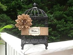 Wedding Birdcage Cardholder / Cards / Wishes Bird Cage / Rustic Wedding Decor Burlap Ribbon on Etsy, $55.95