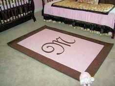 Image detail for -Baby girl's pink and brown custom rectangle nursery area rug with a ...