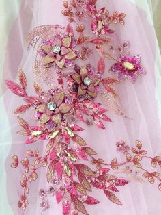 13 colors Delicate Rhinestone Beaded Flower Lace Applique in Hot Pink Flowers Lace Fabric wedding dress stage clothing evening Rhinestone Fabric, Bridal Lace Fabric, Wedding Fabric, Sequin Fabric, Embroidery 3d, Embroidery Designs, Lace Applique, Hot Pink, Delicate